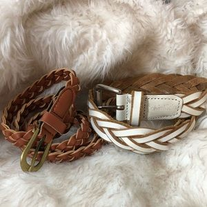 Pair of Braided Leather White and Brown Belts